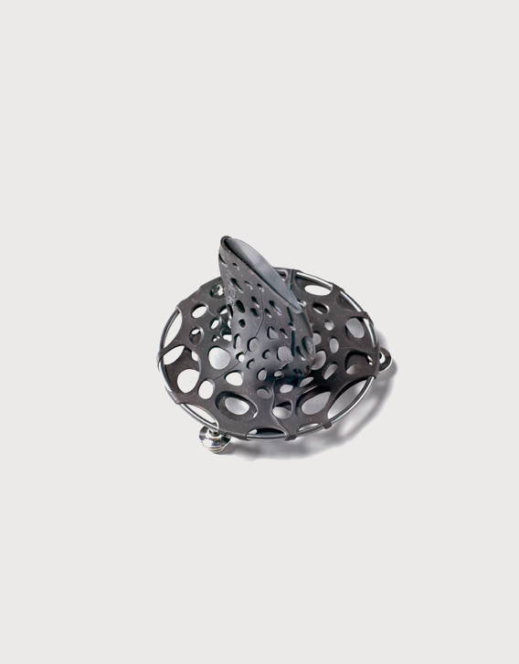 Nikolay Sardamov - BI-RE-CYCLE - brooch 2, blackened silver, rubber