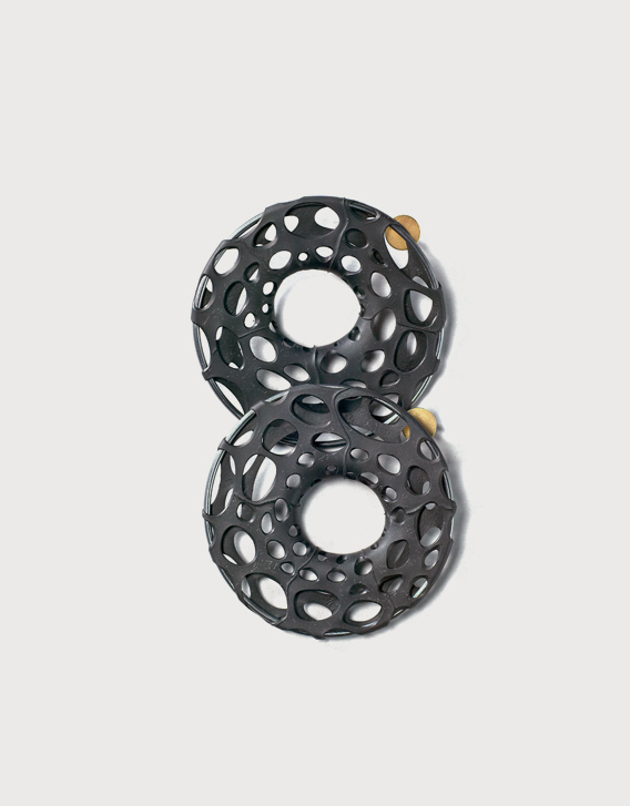 Nikolay Sardamov - BI-RE-CYCLE - ear-rings, blackened silver, silver gold plated, rubber