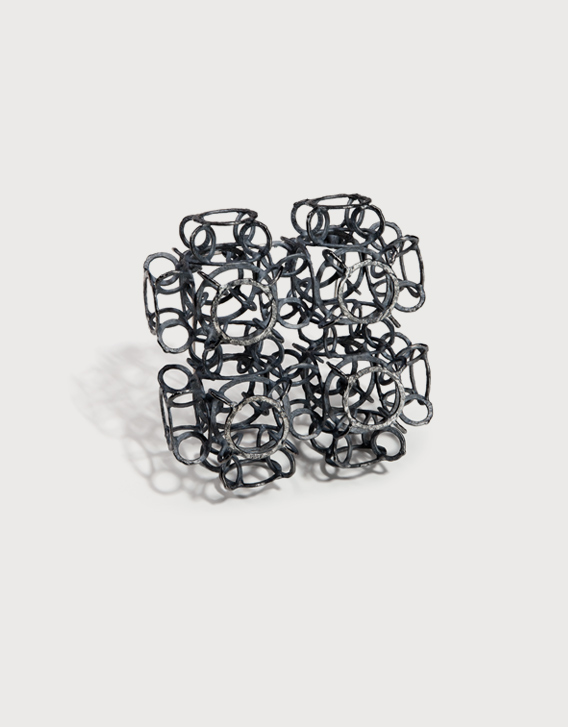 INTERSECTIONS#1 - BROOCH 6, blackened silver - Nikolay Sardamov