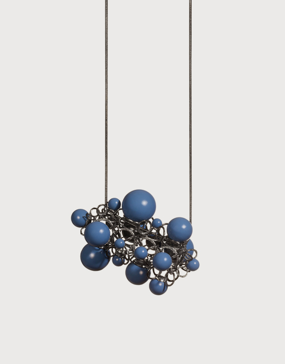 Nikolay Sardamov - BLUE NECKLACE , blackened silver, brass powder-coated