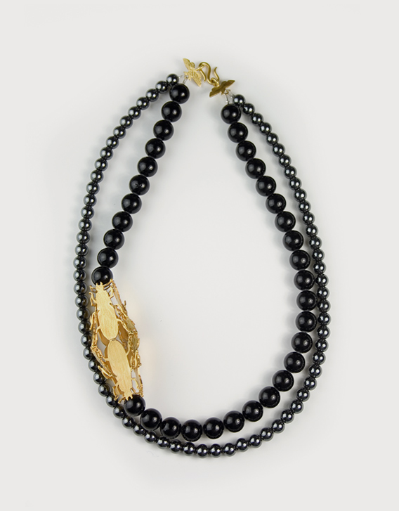 NECKLACE 1, gold, haematite, onyx - Nikolay Sardamov
